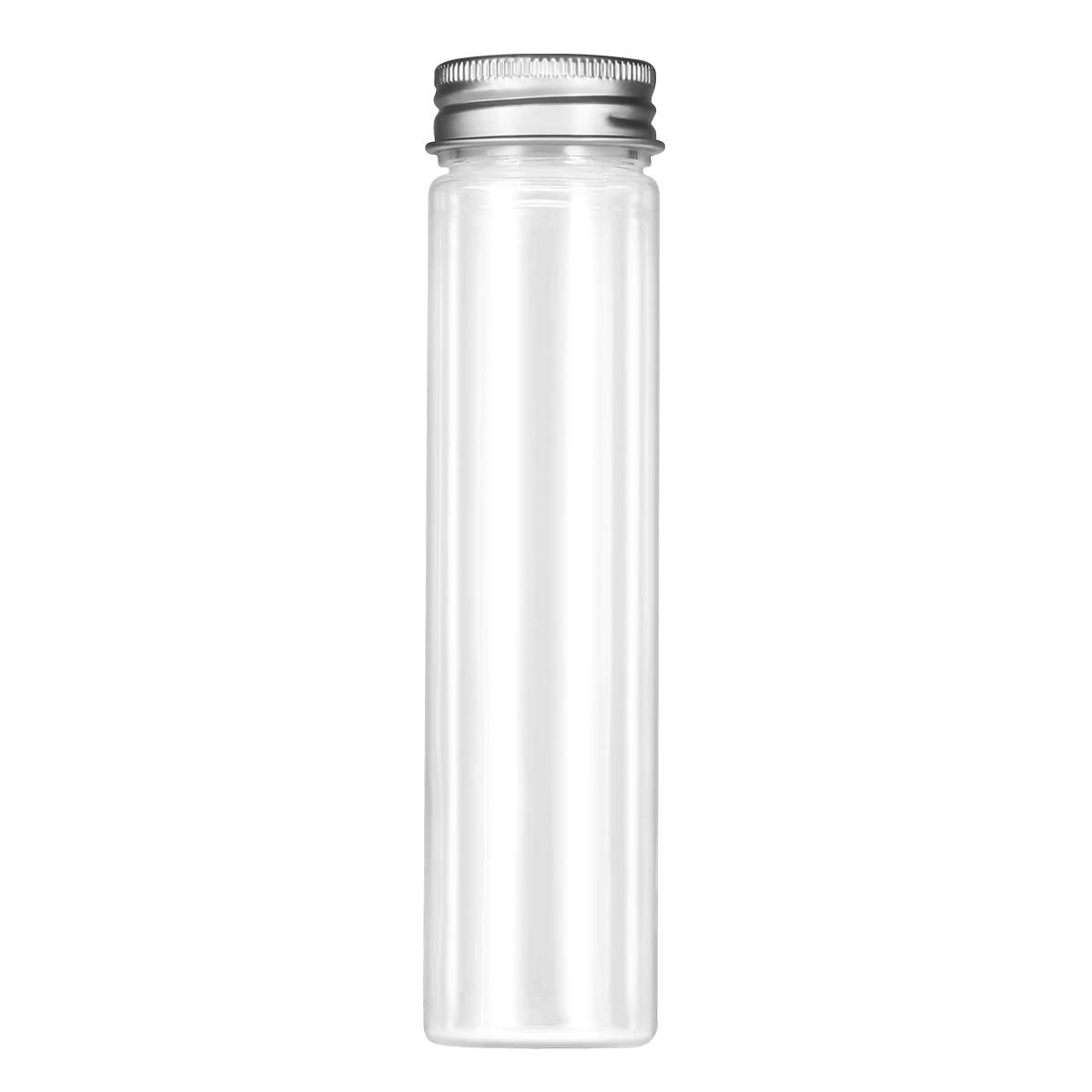 UKCOCO 15pcs Flat-bottomed Plastic Clear Test Tubes with Screw Caps Candy Cosmetic Travel Lotion Containers 110ml