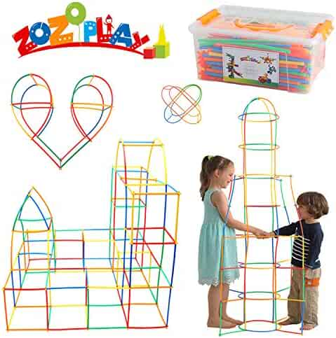 ZoZoplay Straw Constructor STEM Building Toys 400 Piece Straws and Connectors Building Sets Colorful Motor Skills Interlocking Plastic Engineering Toys Best Educational Toys Boy & Girl (400 Straws)