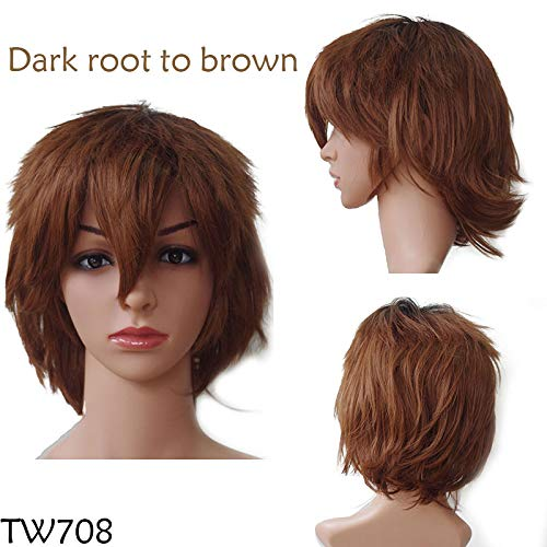 Black White Purple Red Short Hair Cosplay Wig Male Party 30 Cm Temperature Fiber Synthetic Hair Wigs dark brown1 12inches ()