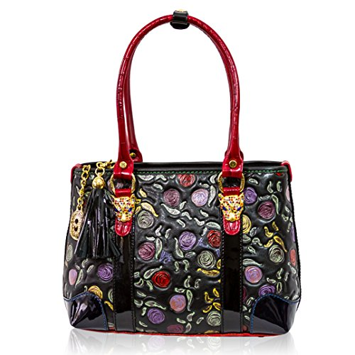 387108031a Marino Orlandi Designer Handpainted Red Roses Leather Tote w/ Leopard Heads