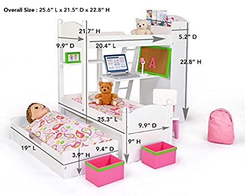 Playtime By Eimmie 18 Inch Doll Bunk Bed Set W Trundle And Accessories Bedroom Set For 18 Inch Dolls In Kenya Whizz Furniture