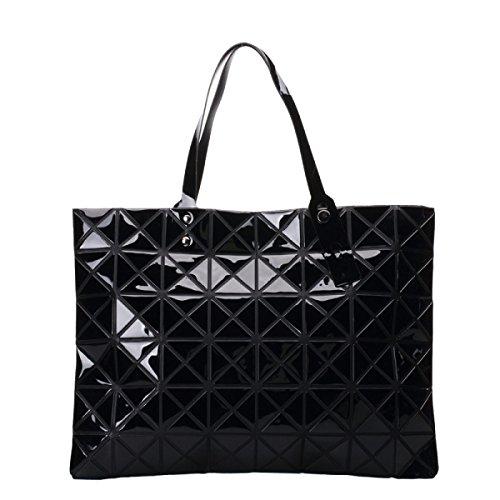 Señora Geométrico Moda Liso Diamante Shopper Bolso De Mano Multicolor negro