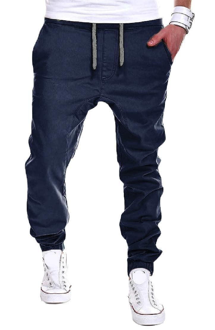 C/&H Men Solid Trousers Elastic Waist Sport Jogging Pants
