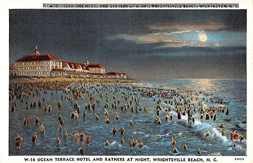 Wrightsville Beach North Carolina Ocean Terrace Hotel At Night Postcard (North Terrace)