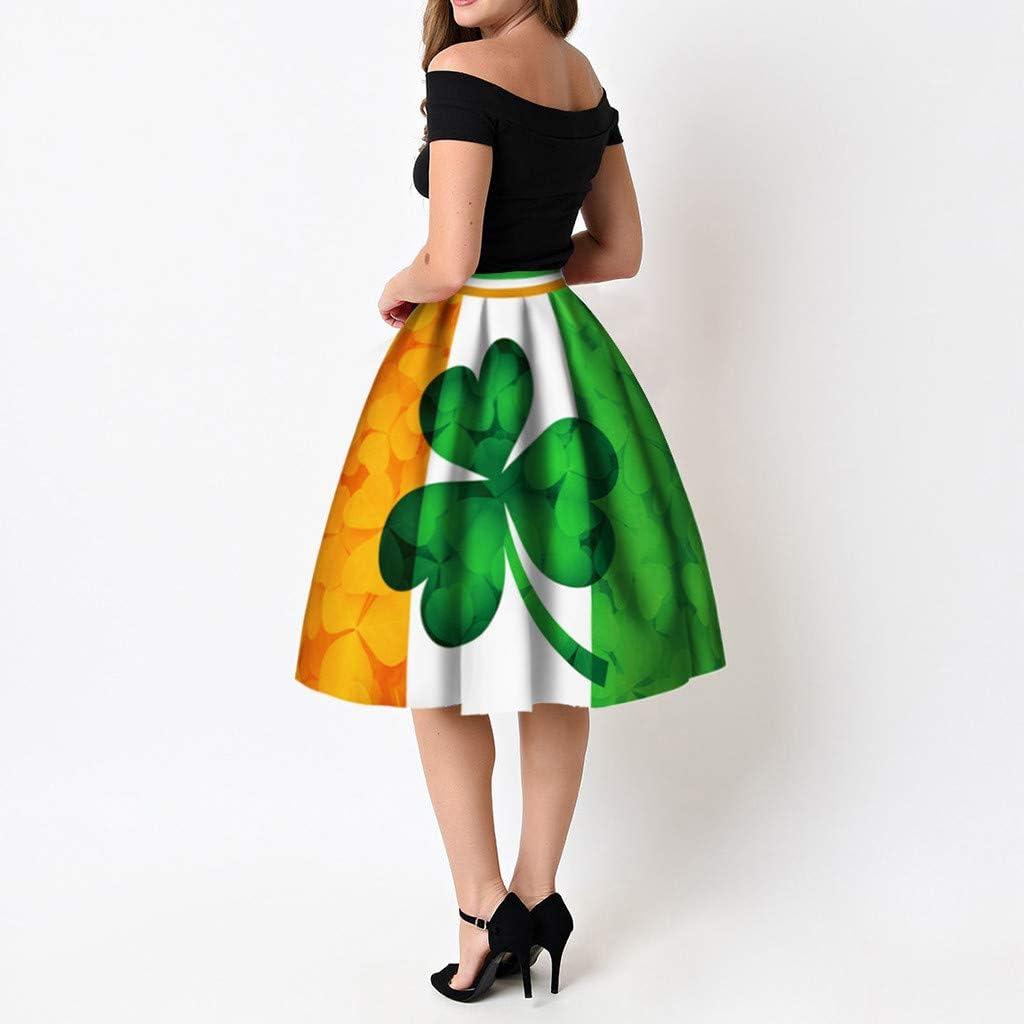 Rcool Falda Corta Faldas Faldas Mujer Invierno Faldas largas Falda Flamenca Mujer, Falda a Media Pierna Acampanada con Estampado de trébol A: Amazon.es: Ropa y accesorios