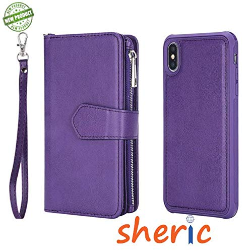 iPhone Xs Max Case, iPhone Xs Max Wallet Case, Premium Synthetic Leather Flip Credit Card Holder Wristlet [Wrist Strap] Ladies Full Body Rugged Shockproof Wallet Phone case for iPhone Xs Max (Purple)