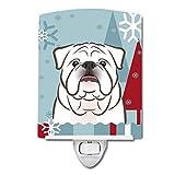 Caroline's Treasures Winter Holiday White English Bulldog Ceramic Night Light, 6 x 4'', Multicolor