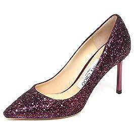 JIMMY CHOO E6558 Decollete Donna Wine Glitter Romy Scarpe Shoe Woman