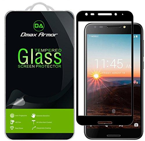 [2-Pack] Dmax Armor for Alcatel (A30 Fierce) Screen Protector, (Full Screen Coverage) [Tempered Glass] Anti-Scratch, Anti-Fingerprint, Bubble Free (Black)