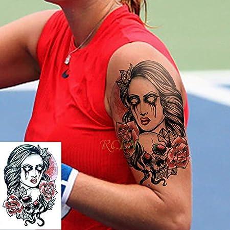 Cráneo de la Flor 3pcs Tatuaje Impermeable de la Etiqueta engomada ...