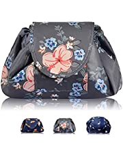 Makeup Organiser, H HOME-MART Portable Lazy Drawstring Makeup Bag Travel Cosmetic Bag Pouch Toiletry Organizer Waterproof Large for Women and Girls
