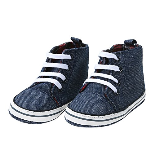 s Toddler Lacing Boots Warm Prewalker Anti-Slip Soft Sole Shoes (Denim,2) ()