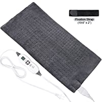 """TechLove Extra Large Electric Heating Pad with Fixation Strap For Neck Shoulder and Back Pain Relief King Size 12"""" x 24"""""""