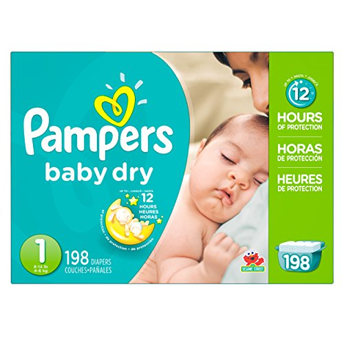 Pampers Baby Dry Diapers, Size 1, 198 Count