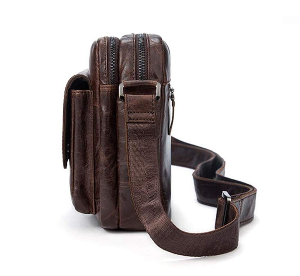 Sxuefang Mens Shoulder Bag Mens Messenger Bag Leather Male Bag Large Capacity Mens Shoulder Bag Oblique Bag Retro Mens Purse 24x7x18cm