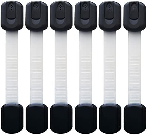 Baby Safety Locks | Child Proof Cabinets, Drawers, Appliances, Toilet Seat, Fridge and Oven | Tools Not Required | Uses 3M Adhesive with Adjustable Strap and Latch System (6-Pack Black)