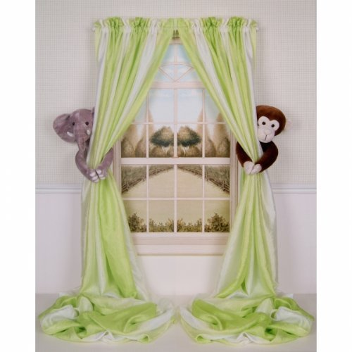 Curtain Critters ALELMY280510COL Plush Safari Elephant and Chocolate Monkey Collector Set