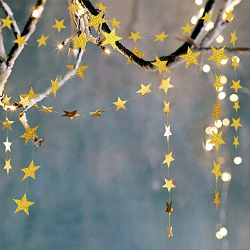 4 Sets/52 Feet Paper Star Garland,Gold Star Banner Garland Kit,Twinkle Twinkle Little Star Baby Shower Decorations,Hanging Stars for Gold Party Decorations Wedding Engagement Nursery Kids Room Decor
