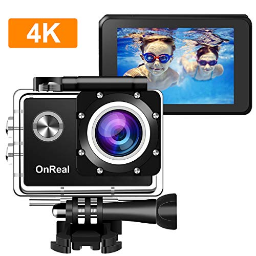 4K Action Camera, OnReal X2 WiFi Sports Camera, Ultra HD 30M Waterproof DV Camcorder with EIS Gyroscope Dual Anti Shake 170° Wide Angle Helmet Mounting Accessories Kit, Support External Microphone