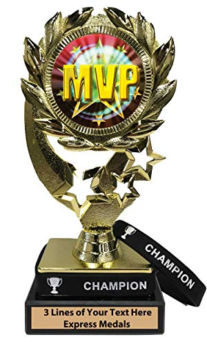 Express Medals MVP Trophy with Removable Wearable Champion Wrist Band Marble Base and Personalized Engraved Plate