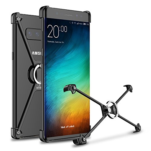 Samsung Galaxy Note 8 Bumper, Galaxy Note 8 Bumper, Ultra Thin Note 8 Bumper Case [Finger Ring Holder Kickstand] Metal Aluminium Bumper Case for Samsung Galaxy Note 8,OATSBASF (Galaxy Note 8-Black1) - Kickstand Bumper