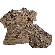 USMC  Major Princess  2 pc Embroidered Baby Dress 3-6 mo Desert Camo