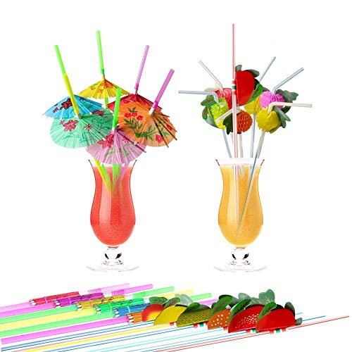 100pcs Disposable Drinking Straws, YGDZ 50pcs Plastic Umbrella Drinking Straws & 50pcs Fruit Drinking Straws for Luau Hawaiian Birthday Party