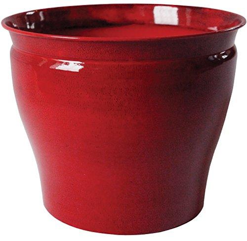 Robert Allen MPT01599 Avery Classic Ironstone Metal Planter Flower Pot, 8 Inch, Autumn Blaze