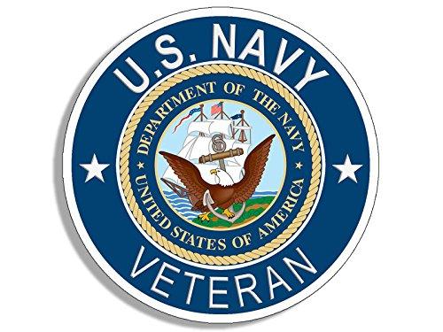 American Vinyl Round U.S. Navy Veteran Sticker (Naval Bumper Vet)