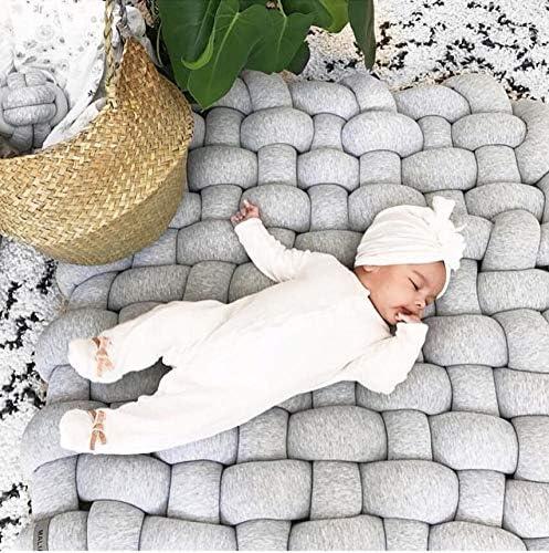 Merlilive Knot Plush Baby Sleeping Mat Denmark Braid Crib Soft Cotton Square Nursery Rug Fashion Nursery Room Decor for Infant Toddler and Children Decoration Grey