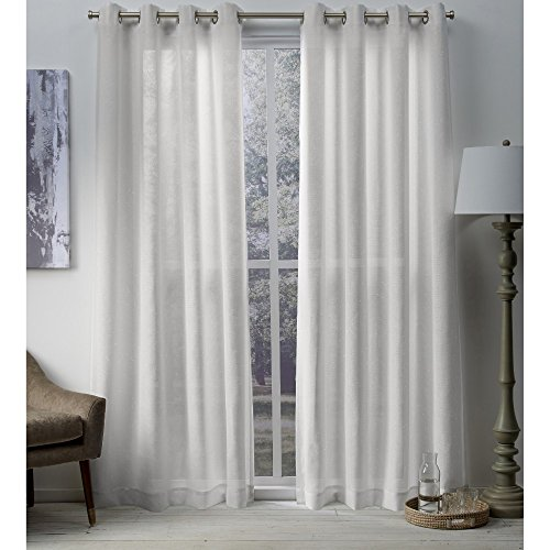 Exclusive Home Curtains Sparkles Heavyweight Metallic Fleck Textured Linen Window Curtain Panel Pair with Grommet Top, 54x108, Winter White, 2 Piece
