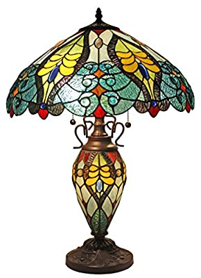 Amora Lighting AM005TL18 Tiffany Style Floral Table Lamp Double Lit Lighted Base, Multi