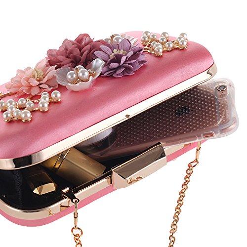 profond orné main motifs et de à floraux perles de Sac de rose soirée 17n4SFqT