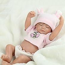 "Terabithia Miniature 11"" Adorable Realistic Sweet Sleeping Newborn Baby Dolls Silicone Full Body for Girls"