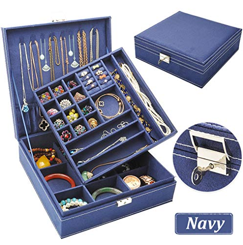 Jewelry Organizer - QBeel Jewelry Box for Women, 2 Layer 36 Compartments Necklace Jewelry Organizer with Lock Jewelry Holder for Earrings Bracelets Rings - Deep Blue