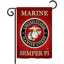 "Breeze Decor - Marine Corps Americana - Everyday Impressions Decorative Vertical Garden Flag 13"" x 18.5"" Printed In USA"