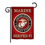 Breeze Decor G158057 Marine Corps Americana Military Impressions Decorative Vertical Garden Flag 13'' x 18.5'' Printed In USA Multi-Color