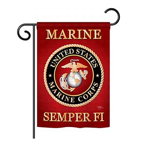 "Breeze Decor - Marine Corps Americana - Everyday Impressions Decorative Vertical Garden Flag 13"" x 18.5"" Printed In USA"