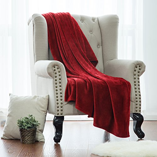 Flannel Fleece Blanket Red Twin Size Lightweight Cozy Plush Microfiber Solid Blanket by (Twin Red Blanket)