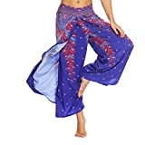 vermers Clearance Womens Boho Pants Women Casual Summer Loose Yoga Trousers Baggy Aladdin Harem Pants(M, Blue)