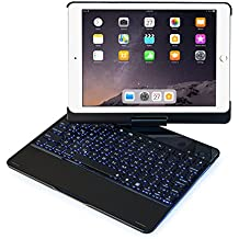 iPad Keyboard Case 2017/2018/Air/Air 2/Pro 9.7-360°Rotating Back Cover-Aluminum Bluetooth Keyboard With 7 Backlit Color(Only For 9.7'') Staxverade