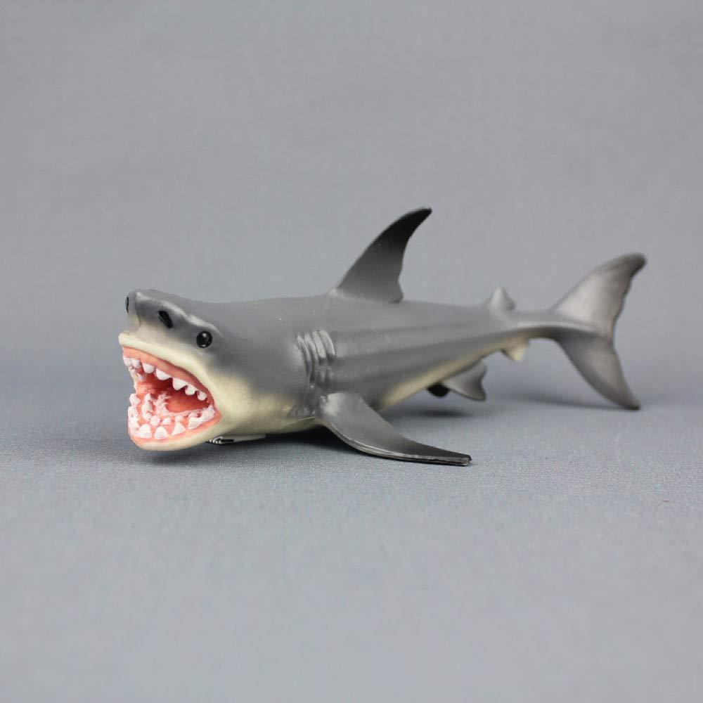 Hai 54cm Haifisch Großer Weißer Hai White Shark Kunststoff Spielfigur Fisch Deko Antyki i Sztuka Dekoracje marynistyczne