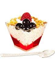 DLux 50 x 2 oz Square Mini Dessert Cups with Spoons, Gold Glitter Clear Plastic Parfait Appetizer Cup - Small Reusable Serving Bowl for Tasting Party Desserts Appetizers - with Recipe Ebook