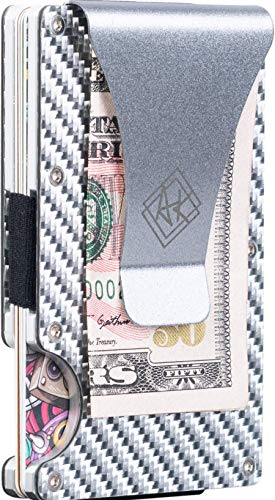 RFID Carbon Fiber Wallet| Slim Card Holder Wallet for Men & Women with Money Clip (Black Carbon) (Silver Carbon)