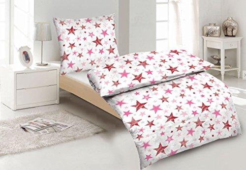 Aminata Kids bezaubernde Mädchen-Kinder-Bettwäsche 135x200 cm Sterne rosa pink rose Bettwäsche-Kinder hochwertige Baumwolle mit Reißverschluss Pastell-rose