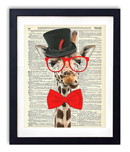 Geeky Gentleman Giraffe Vintage Upcycled Dictionary Art Print - 8x10 inches