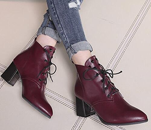 Toe Booties Pointed Mid Chunky Ankle Boots Trendy Red Wine Heels IDIFU Lace Up Martin Studded Womens qUFOI