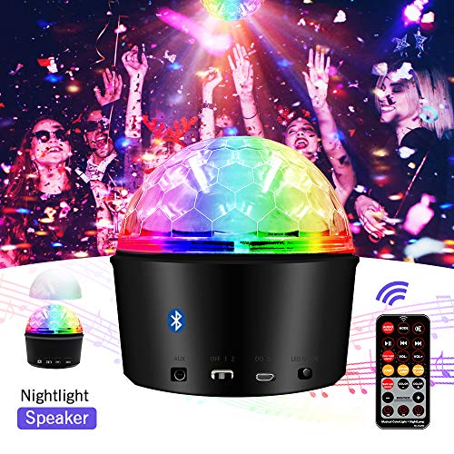 Disco Ball Light,Exulight 9W USB Rechargeable Led Party Lights,9 Colors Sound Activated DJ Projector with Wireless Bluetooth Speaker and Remote Control for Kids Christmas Gifts (Rechargeable) -
