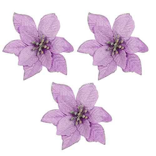 (3pcs Accessory of Purple Glitter Home Party Decor Xmas Poinsettia Artificial Ornaments)
