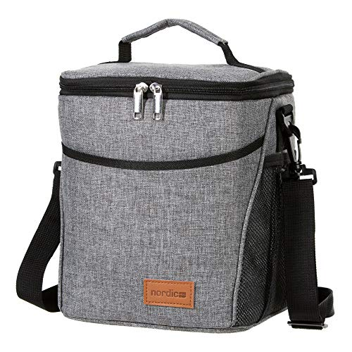 Daily Nordic Insulated Lunch Bag (9L) Large Lunch Box Food Tote for Adults, Men/Women [Leakproof, Water Resistant, Thermal] Keeps 12 cans, Bento Boxes, Drinks fresh for Picnic, Work, Travel, grey